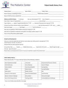 Family Health History Form