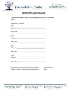 HIPPA Acknowledgement Form