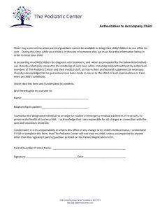 Authorize To Accompany Child